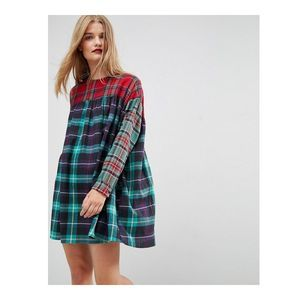 New ASOS Plaid Flannel Smock Dress Size 8